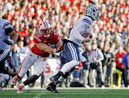 Brendan Kelly Wisconsin's Brendan Kelly tries to sack Brigham Young's Taysom Hill during the first half of an NCAA college football game, in Madison, Wis