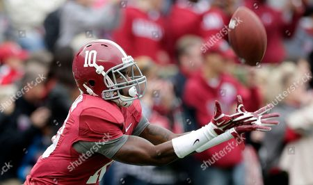 Alabama defensive back John Fulton (10) warms up prior to the start of an NCAA college football game against Chattanooga in Tuscaloosa, Ala