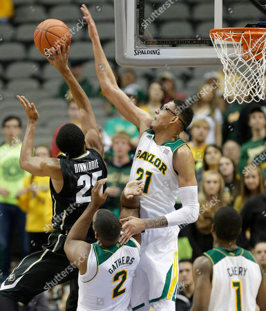 Isaiah Austin, Spencer Dinwiddie Baylor center Isaiah Austin (21) blocks a shot by Colorado guard Spencer Dinwiddie (25) as Baylor forward Rico Gathers (2) gets in the middle during the first half of an NCAA college basketball game in Dallas