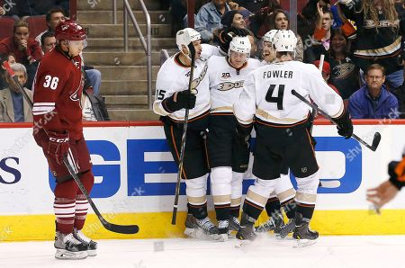 Rob Klinkhammer, Corey Perry, Ryan Getzlaf, Ben Lovejoy, Cam Fowler Anaheim Ducks' Corey Perry, second from left, celebrates his goal against the Phoenix Coyotes with teammates Ryan Getzlaf (15), Cam Fowler (4) and Ben Lovejoy, as Coyotes' Rob Klinkhammer (36) stands by during the second period of an NHL hockey game, in Glendale, Ariz