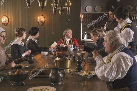 Stock Picture of Nell Hudson as Skerrett, Eve Myles as Mrs Jenkins, Adrian Schiller as Penge, Ferdinand Kingsley as Francatelli and Basil Eidenbenz as Lohlein