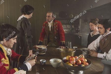 Stock Photo of Nell Hudson as Skerrett, Eve Myles as Mrs Jenkins, Adrian Schiller as Penge, Ferdinand Kingsley as Francatelli and Basil Eidenbenz as Lohlein