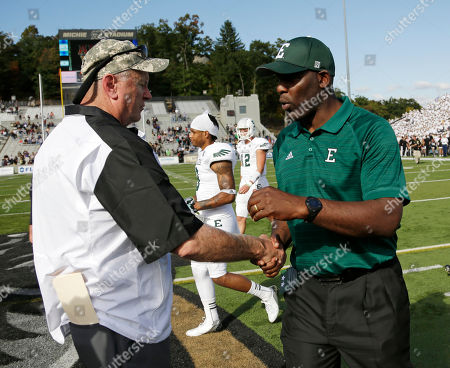 Rich Ellerson, Ron English Army head coach Rich Ellerson, left, and Eastern Michigan head coach Ron English shake hands after an NCAA college football game, in West Point, N.Y. Army won, 50-25