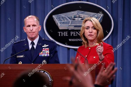 Deborah Lee James, Stephen Wilson Air Force Secretary Deborah Lee James, accompanied by Air Force Global Strike Command (AFGSC) Commander Lt. Gen. Stephen Wilson, take questions during a news conference at the Pentagon, . The Air Force is firing nine mid-level commanders and disciplining dozens of junior officers at a nuclear missile base in response to an exam-cheating scandal that spanned a far longer period than originally reported