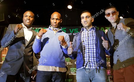 Peter Quillan, Bernard Hopkins, Karo Murat, Gabriel Rosado From left, boxers Peter Quillan, of New York, Bernard Hopkins, of Philadlephia, Karo Murat of Germany, and Gabriel Rosado, of Philadelphia, pose for photographers during a news conference, in New York. Hopkins will square off against Murat, and Quillan will square off against Rosada on Saturday in Atlantic City, N.J