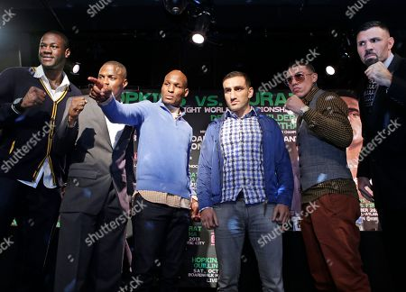 Deontay Wilder, Peter Quillan, Bernard Hopkins, Karo Murat, Gabriel Rosado, Nicolai Firtha From left, boxers Deontay Wilder of Tuscaloosa, Ala., Peter Quillan of New York, Bernard Hopkins, of Philadelphia, Karo Murat of Germany, Gabriel Rosado of Philadelphia, and Nicolai Firtha of Akron, Ohio, pose for a photograph during a news conference, in New York. Hopkins will square off against Murat, Quillan will square off against Rosada and Wilder will square off against Firtha, on Saturday in Atlantic City, N.J
