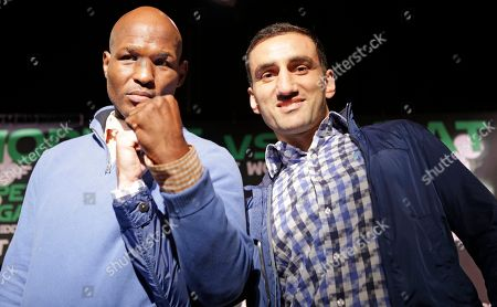 Bernard Hopkins, Karo Murat Boxing legend Bernard Hopkins, left, poses for a photograph with challenger Karo Murat of Germany during a news conference, in New York, in advance of their International Boxing Federation Light Heavyweight world championship fight, Saturday, Oct. 26 in Atlantic City, N.J. Hopkins, 48, seeks to become the oldest fighter in history to defend his title when he faces Murat Saturday