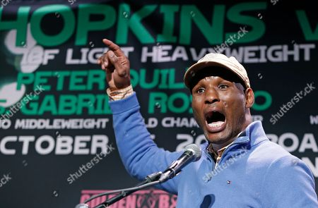 Bernard Hopkins Boxer Bernard Hopkins gestures as he tells a parable during a news conference, in New York, in advance of his International Boxing Federation light heavyweight world championship title defense against challenger Karo Murat on Saturday in Atlantic City, N.J