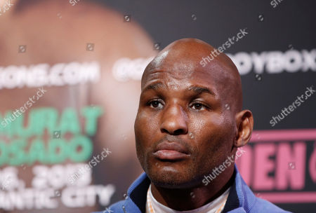 Stock Picture of Bernard Hopkins Bernard Hopkins, 48, listens to the introductions at the start of a news conference, in New York, in advance of his International Boxing Federation Light Heavyweight world championship fight, against Karo Murat of Germany, Saturday, Oct. 26 in Atlantic City, N.J