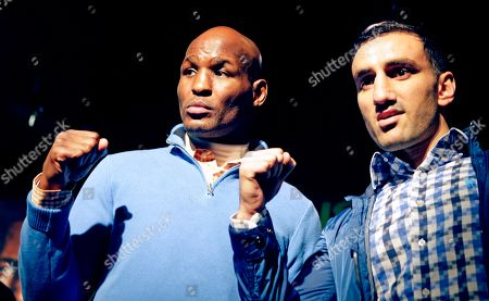 Bernard Hopkins, Karo Murat Boxers Bernard Hopkins, left, and challenger Karo Murat of Germany, pose for photographers during a news conference, in New York. Hopkins, 48, seeks to become the oldest fighter in history to defend a title when he faces Murat on Saturday in Atlantic City, N.J., for the Hopkins' IBF light heavyweight title