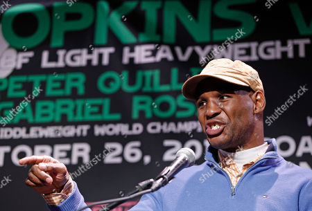 Stock Picture of Bernard Hopkins Bernard Hopkins gestures as he speaks during a news conference, in New York, in advance of his International Boxing Federation Light Heavyweight world championship title defense against challenger Karo Murat of Germany, Saturday, Oct. 26 in Atlantic City, N.J