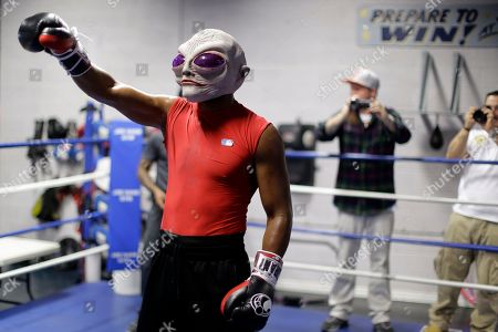Bernard Hopkins Boxer Bernard Hopkins wears an alien mask during a media workout, in Philadelphia. Hopkins is scheduled to fight Karo Murat at Boardwalk Hall in Atlantic City, N.J., on Oct. 26
