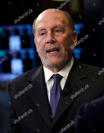 """Stock Image of Lewis """"Lew"""" Frankfort Chairman and CEO of Coach, Inc. Lewis """"Lew"""" Frankfort is interviewed on the floor of the New York Stock Exchange"""