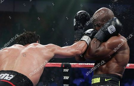 Juan Manuel Marquez, Timothy Bradley Juan Manuel Marquez lands a jab against Timothy Bradley in the 10th round during a WBO welterweight title fight, in Las Vegas. Bradley won by split decision