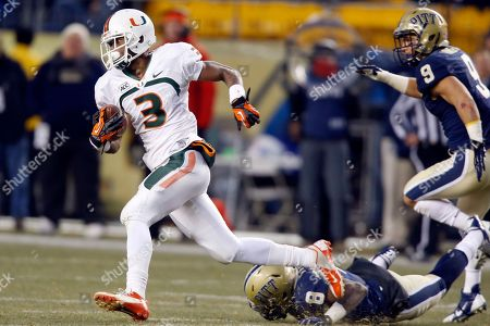 Stacy Coley, Todd Thomas, Ray Vinopal Miami wide receiver Stacy Coley (3) runs away from Pittsburgh linebacker Todd Thomas (8) and defensive back Ray Vinopal (9) on his way to score a touchdown on an end around in the second quarter of an NCAA college football game in Pittsburgh on