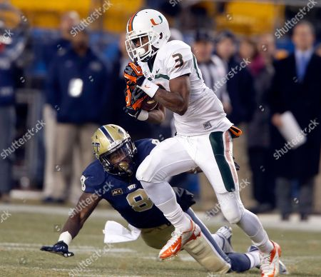 Stacy Coley, Todd Thomas Miami wide receiver Stacy Coley (3) runs away from Pittsburgh linebacker Todd Thomas (8) on his way to score a touchdown in the second quarter of an NCAA college football game in Pittsburgh on