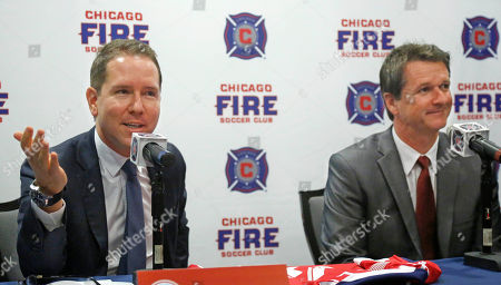 Stock Image of Andrew Hauptman Frank Yallop Chicago Fire owner Andrew Hauptman, left, introduces Frank Yallop as the new head coach and director of soccer of the MLS soccer club during a news conference, in Chicago