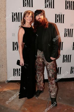 """Jase Robertson, Missy Robertson Jase Robertson and his wife, Missy, of the TV show """"Duck Dynasty"""" arrive at the BMI Country Awards, in Nashville, Tenn"""