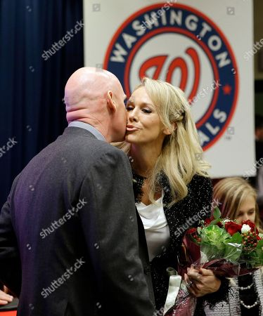 Matt Williams, Erika Williams Matt Williams kisses his wife Erika Williams during a news conference at Nationals Park, in Washington, where he was introduced as the new manager of the Washington Nationals baseball team