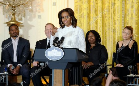 Michelle Obama, Ryan Coogler, Harvey Weinstein, Whoopie Goldberg, Blake Lively First lady Michelle Obama speaks in the East Room of the White House in Washington, at a workshop for high school students from Washington, New York and Boston about careers in film. Seated behind her, from left are, writer-director Ryan Coogler, movie mogul Harvey Weinstein, Academy Award winning actress Whoopi Goldberg, and actress Blake Lively