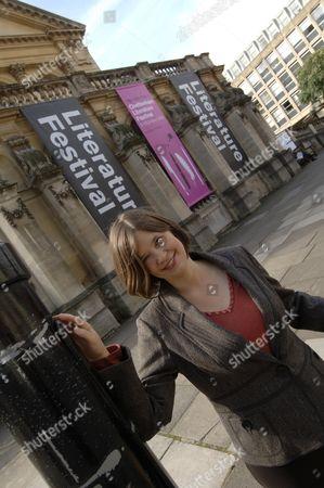 Stock Image of Festival organiser Sarah Smyth outside Cheltenham Town Hall