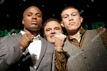 Peter Quillan, Gabriel Rosado Golden Boy Promotions CEO Richard Schaefer, center, poses with boxers Peter Quillan, left, and Gabriel Rosado during a photo opportunity after a news conference, in New York, in advance of their WBO middleweight title fight on Saturday in Atlantic City, N.J