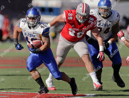 Stock Photo of Jarrod Lawson San Jose State running back Jarrod Lawson (40) breaks through a hole against UNLV on his way to a 31-yard touchdown run in the second quarter of an NCAA college football game, in Las Vegas