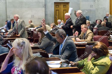 Larry Miller Democratic Rep. Larry Miller of Memphis, center with hand raised, and other members participate in a House floor session in Nashville, Tenn., on . Lawmakers were trying to conclude their business before adjourning for the year