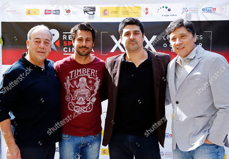 """Tito Valverde, Hugo Silva, Cesc Gay Carlos Bardem Spanish actors from left, Tito Valverde, Hugo Silva, writer/director Cesc Gay and actor/writer Carlos Bardem pose at a news conference preceding the 19th Recent Spanish Cinema film festival, in Beverly Hills, Calif., . The series will showcase the most outstanding recent Spanish films at the American Cinematheque at the Egyptian Theatre in Los Angeles, Oct. 16 to 19. The series will premiere Wednesday, Oct. 16, 2013, with a showing of the premiere of Spain's entry for Best Foreign Language Film for the Academy Awards in 2014, """"15 Anos Y Un Dia"""" (""""15 Years And A Day""""), which stars Valverde"""
