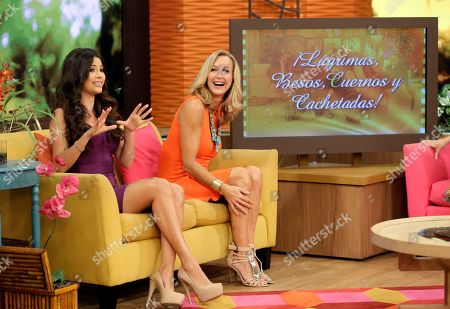 "Lara Spencer, Ana Patricia Gonzalez Lara Spencer, of the ABC network's ""Good Morning America,"" smiles as she listens to Ana Patricia Gonzalez on the Univision network morning show, ""Despierta America"" (""Wake Up America,"") during a joint live broadcast with ""Good Morning America,"" in Doral, Fla"