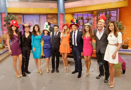 "Ana Patricia Gonzalez, El Dasa, Chiquinquira Delgado, Alessandra Rosaldo, Eugenio Derbez, Lara Spencer, Johnny Lozado, Ximena Cordoba, Sam Champion, Satcha Pretto Hosts of the ABC network's ""Good Morning America,"" show and the Univision network morning show, ""Despierta America"" (""Wake Up America"") television show, are shown during a joint live show between between the two programs, in Doral, Fla"
