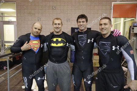 Steve Holcomb, Curt Tomasevicz, Steve Langton, Chris Fogt From left to right, Steve Holcomb, Curt Tomasevicz, Steve Langton and Chris Fogt pose for a photograph after racing in the United States four-man bobsled team trials, in Park City, Utah. Holcomb and his crew came in first place