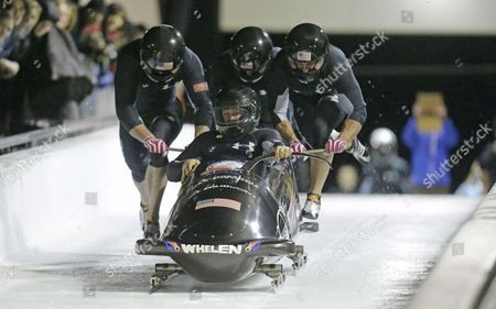 Steve Holcomb, Curt Tomasevicz, Steve Langton, Chris Fogt From front to back, Steve Holcomb, Curt Tomasevicz, Steve Langton, Chris Fogt climb in to their sled during the United States four-man bobsled team trials, in Park City, Utah. Steve Holcomb crew came in first place