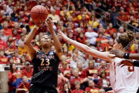 Lauren Coleman, Hallie Christofferson Florida State's Lauren Coleman (32) shoots against Iowa State's Hallie Christofferson (5) in the second half of a first-round game in the NCAA women's college basketball tournament in Ames, Iowa