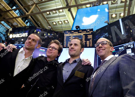 Dick Costolo, Jack Dorsey, Evan Williams, Biz Stone Twitter Chairman and co-founder Jack Dorsey, co-founders Biz Stone and Evan Williams and, Twitter CEO Dick Costolo pose for a group photo after their company's IPO began trading, on the floor of the New York Stock Exchange, . If Twitter's bankers and executives were hoping for a surge on the day of the stock's public debut, they got it. The stock opened at $45.10 a share on its first day of trading, 73 percent above its initial offering price