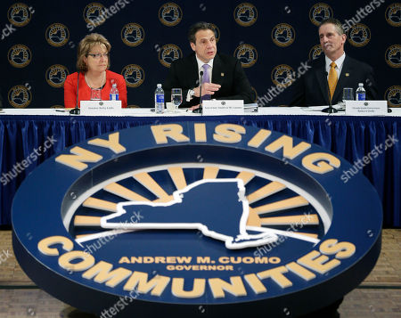 Andrew Cuomo, Betty Little,Robert Duffy New York Gov. Andrew Cuomo, center, speaks during the NY Rising Spring Conference, in Albany, N.Y. Seated with Cuomo are Sen. Betty Little, R-Glens Falls, left, and Lt. Gov. Robert Duffy. Gov. Cuomo and New York City Mayor Bill de Blasio are expected to announce property tax relief legislation for homeowners affected by Superstorm Sandy at the conference