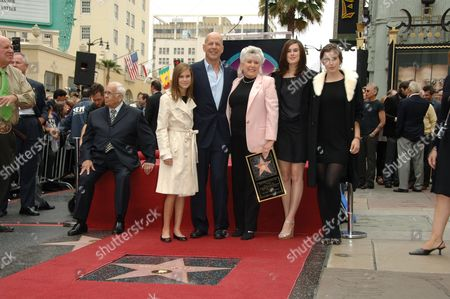 Johnny Grant, Tallulah Belle Willis, Bruce Willis, Marlene Willis, Rumer Willis and Scout Larue Willis