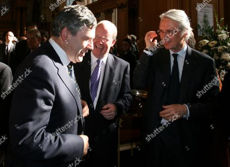 Stock Picture of Chancellor Gordon Brown, Murdoch MacLennan Chief Executive of The Daily Telegraph and Les Hinton Chairman of News International