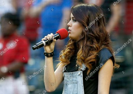 Angie Miller Angie Miller, a singer-songwriter who came in third place on the twelfth season of American Idol, sings the national anthem prior to an opening day baseball game between the Arizona Diamondbacks and the San Francisco Giants, in Phoenix