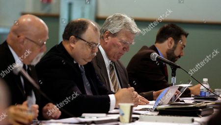 Stock Picture of Rep. Eric Turner, R-Cicero, second from right, looks over notes during a Budget Committee meeting at the Indiana State Fairgrounds, in Indianapolis. Rep. Turner did not attend his House Ethics Committee hearing at the Statehouse