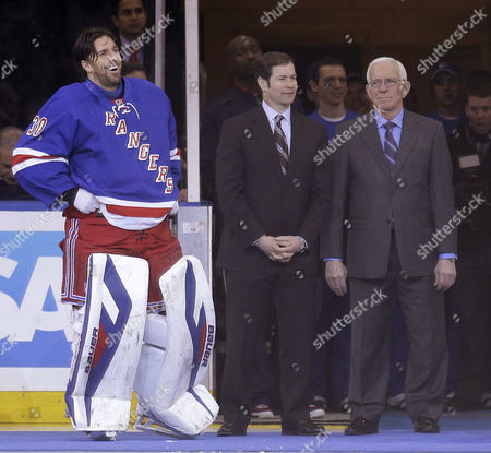 Henrik Lundqvist, Mike Richter, Ed Giacomin New York Rangers goalie Henrik Lundqvist, left, stands with former Ranger goalies Mike Richter, center, and Ed Giacomin during a ceremony to honor Lundqvist for holding the Rangers' records for most wins and most shutouts before the NHL hockey game against the Phoenix Coyotes, in New York