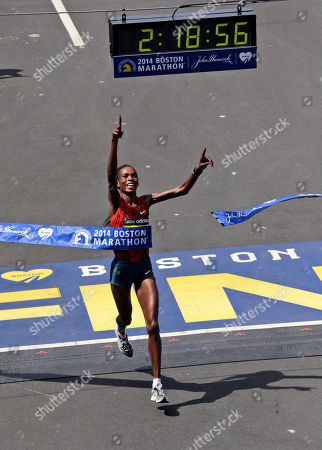 Rita Jeptoo Rita Jeptoo, of Kenya, breaks the tape to win the women's division of the 118th Boston Marathon in Boston. Kenyan marathoner Rita Jeptoo will have to wait up to three more months to learn the outcome of the hearing into her positive doping test. Athletics Kenya requested more time for further investigation after the three-time Boston Marathon champion and two-time Chicago Marathon winner appeared at a hearing Thursday Jan. 15, 2015. Jeptoo could face a ban of two or four years if found guilty of doping