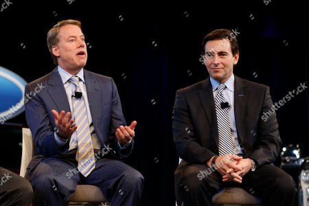 Bill Ford Jr., Mark Fields Ford Motor Company Executive Chairman Bill Ford Jr., left, talks as Chief Operating Officer Mark Fields listens during a news conference in Dearborn, Mich., . Ford announced CEO Alan Mulally will retire July 1 and be replaced by Fields