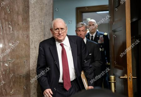 Stock Photo of John M. McHugh, Raymond Odierno, Carl Levin Senate Armed Services Committee Chairman Sen. Carl Levin, D-Mich., followed by Army Secretary John M. McHugh, center, and Army Chief of Staff Gen Raymond Odierno, emerges from a private meeting on Capitol Hill in Washington, before the committee's hearing on the deadly shooting rampage by a soldier yesterday at Fort Hood in Texas. An Iraq War veteran being treated for mental illness was the gunman who opened fire at Fort Hood, killing three people and wounding 16 others before committing suicide, in an attack on the same Texas military base where more than a dozen people were slain in 2009