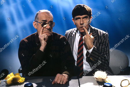 Jim Bowen and Leslie Crowther on 'Blockbusters' - 1992