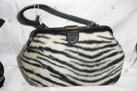 Bag donated by Phyllis Diller, Vintage Zebra pony handbag
