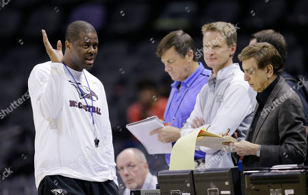 LeVelle Morton, Marv Albert, Craig Sagar, Steve Kerr North Carolina Central coach LeVelle Morton, left, talks with Marv Albert, right, Steve Kerr, second from right, and Craig Sagar, center, during practice for the NCAA college basketball tournament, in San Antonio. North Carolina Central will face Iowa State Friday