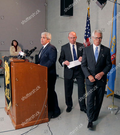 Berry Grissom, Steve Howe, Gary Mason U.S. Attorney Berry Grissom, right, and Johnson County District Attorney Steve Howe, center, depart as public information officer Gary Mason, left, ends a news conference in Overland Park, Kan., . Kansas prosecutors filed state-level murder charges Tuesday against white supremacist, Frazier Glenn Cross, who is accused in a shootings that left three people dead at two Jewish community sites in suburban Kansas City on Sunday