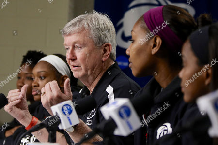 Stock Photo of Gary Blair, Kristen Grant, Courtney Walker, Karla Gilbert, Jordan Jones Texas A&M coach Gary Blair is flanked by players Kristen Grant, left, Courtney Walker, second from left, Karla Gilbert, second from right, and Jordan Jones, right, as he addresses journalists, at a news conference ahead of a regional finals game in the NCAA college basketball tournament in Lincoln, Neb. Texas A&M will play Connecticut in the finals on Monday