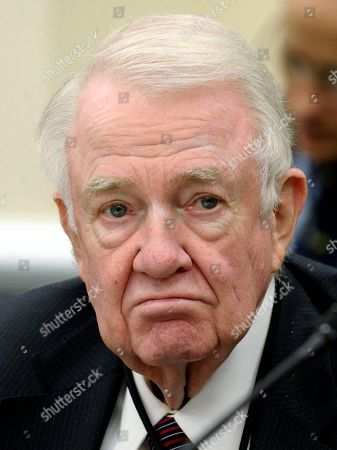 Stock Image of Edwin Meese III Former Attorney General Edwin Meese III, who is an expert witness on FBI reform efforts, testifies on Capitol Hill in Washington, before the House Appropriations, Commerce, Justice, Science, and Related Agencies subcommittee hearing on the FBI's fiscal 2015 budget